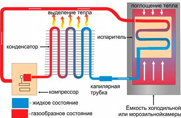 Схема работы двухкамерного холодильника
